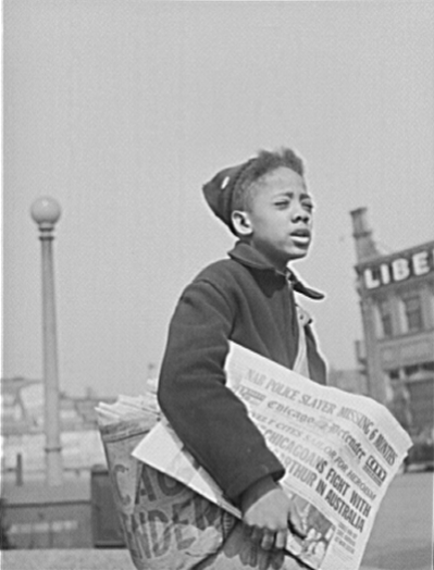 Selling the Chicago Defender circa Apr. 1942
